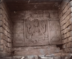 Statue of four-armed goddess in the court of the temple at Damdama, Hazaribagh District